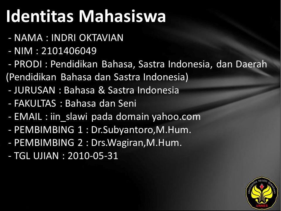 Identitas Mahasiswa - NAMA : INDRI OKTAVIAN - NIM : 2101406049 - PRODI : Pendidikan Bahasa, Sastra Indonesia, dan Daerah (Pendidikan Bahasa dan Sastra Indonesia) - JURUSAN : Bahasa & Sastra Indonesia - FAKULTAS : Bahasa dan Seni - EMAIL : iin_slawi pada domain yahoo.com - PEMBIMBING 1 : Dr.Subyantoro,M.Hum.