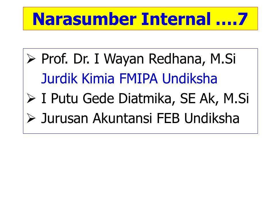 Narasumber Internal ….7  Prof. Dr. I Wayan Redhana, M.Si Jurdik Kimia FMIPA Undiksha  I Putu Gede Diatmika, SE Ak, M.Si  Jurusan Akuntansi FEB Undi