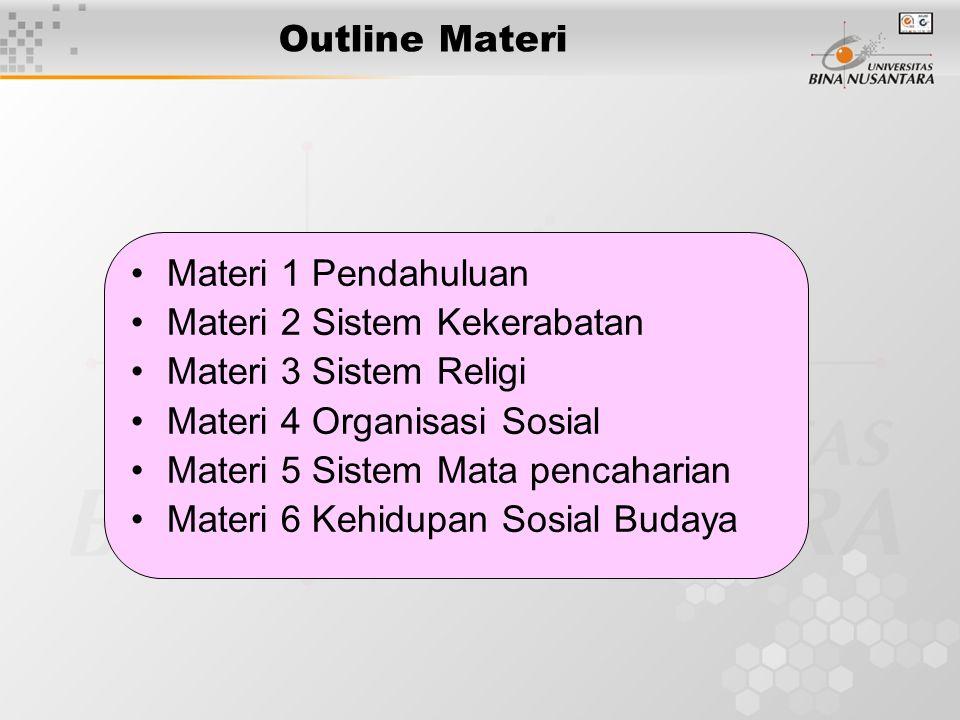 Outline Materi Materi 1 Pendahuluan Materi 2 Sistem Kekerabatan Materi 3 Sistem Religi Materi 4 Organisasi Sosial Materi 5 Sistem Mata pencaharian Materi 6 Kehidupan Sosial Budaya