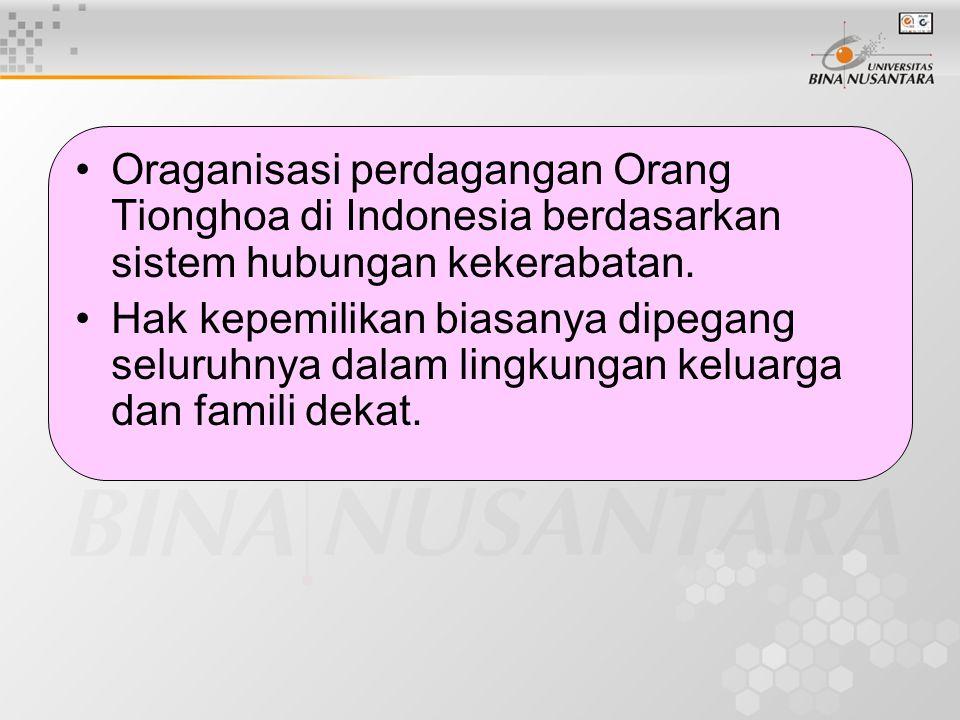 Oraganisasi perdagangan Orang Tionghoa di Indonesia berdasarkan sistem hubungan kekerabatan. Hak kepemilikan biasanya dipegang seluruhnya dalam lingku