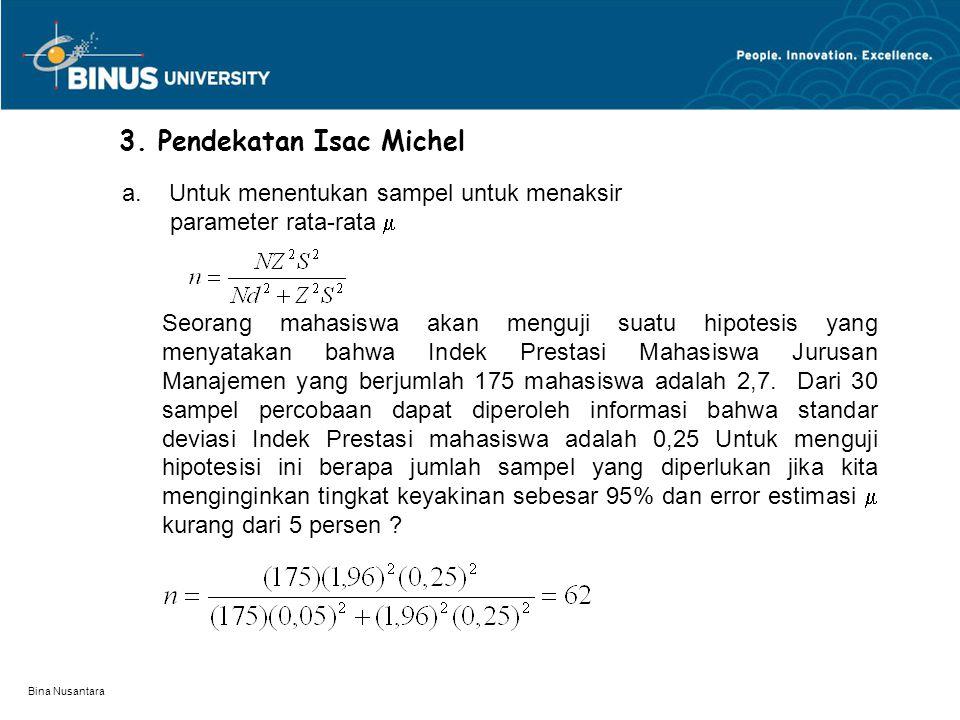 Bina Nusantara 3. Pendekatan Isac Michel Seorang mahasiswa akan menguji suatu hipotesis yang menyatakan bahwa Indek Prestasi Mahasiswa Jurusan Manajem