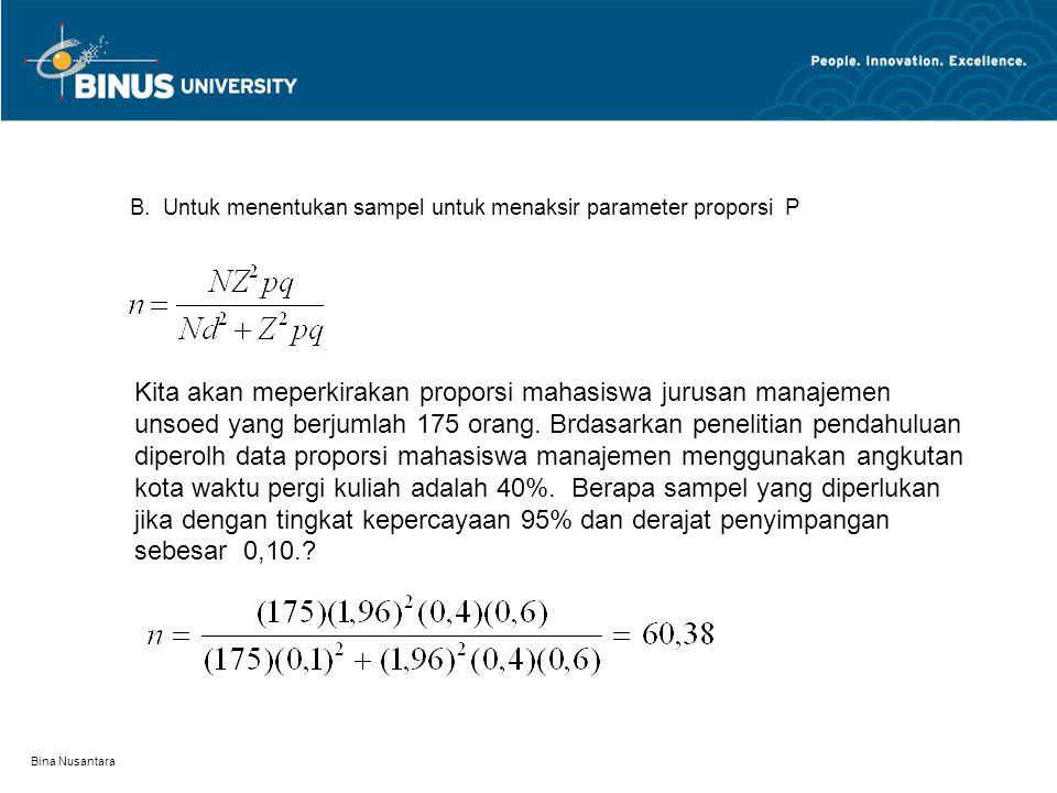 Bina Nusantara B. Untuk menentukan sampel untuk menaksir parameter proporsi P Kita akan meperkirakan proporsi mahasiswa jurusan manajemen unsoed yang