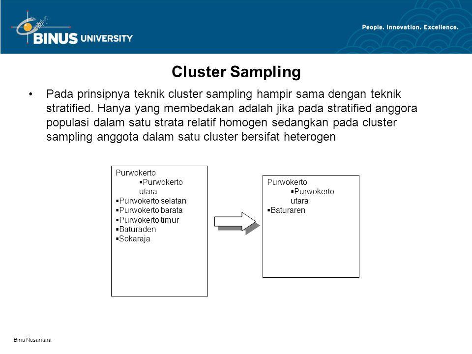 Bina Nusantara Cluster Sampling Pada prinsipnya teknik cluster sampling hampir sama dengan teknik stratified. Hanya yang membedakan adalah jika pada s