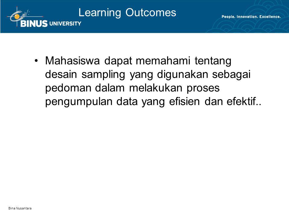 Bina Nusantara Outline Materi: Desain Sampling Alasan menggunakan Sampling Pertimbangan dalam menentukan Sampling Prosedur penentuan Sampel Pedoman menentukan jumlah Sampling Teknik pengambilan Sampling.
