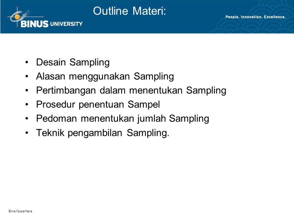 Bina Nusantara Outline Materi: Desain Sampling Alasan menggunakan Sampling Pertimbangan dalam menentukan Sampling Prosedur penentuan Sampel Pedoman me