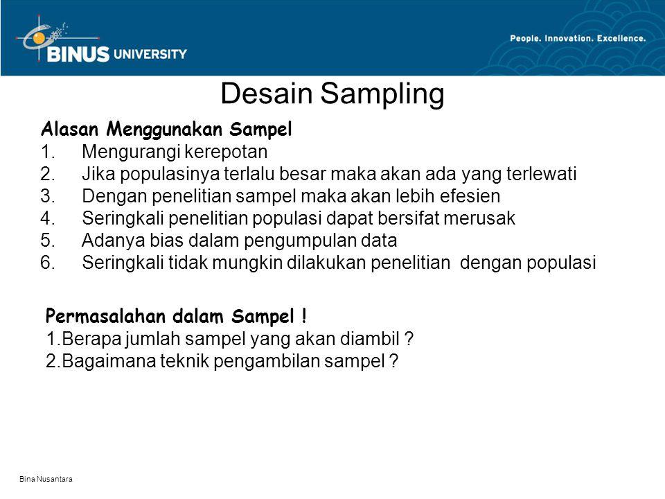 Bina Nusantara Pertimbangan Dalam Menentukan Sampel  Seberapa besar keragaman populasi  Berapa besar tingkat keyakinan yang kita perlukan  Berapa toleransi tingkat kesalahan dapat diterima  Apa tujuan penelitian yang akan dilakukan  Keterbatasan yang dimiliki oleh peneliti
