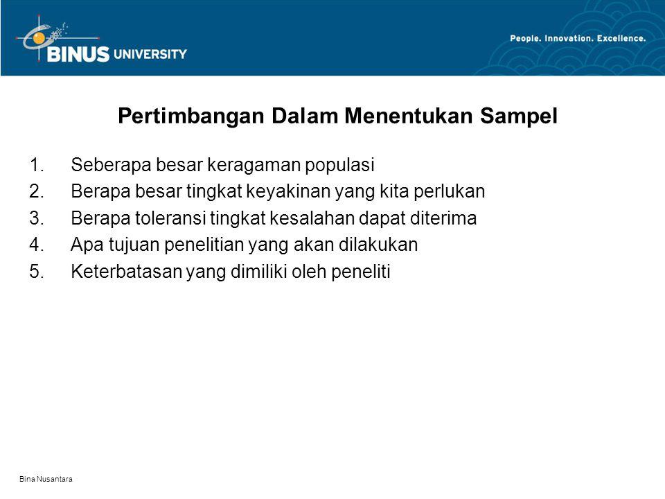 Bina Nusantara Prosedur Penentuan Sampel Identifikasi populasi tarjet Memilih Kerangka sampel Menentukan Metode Pemilihan Sampel Merencanakan Prosedur Pemilihan Unit Sampel Menentukan ukuran Sampel Menentukan unit sampel Pelaksanaan Kerja Lapangan