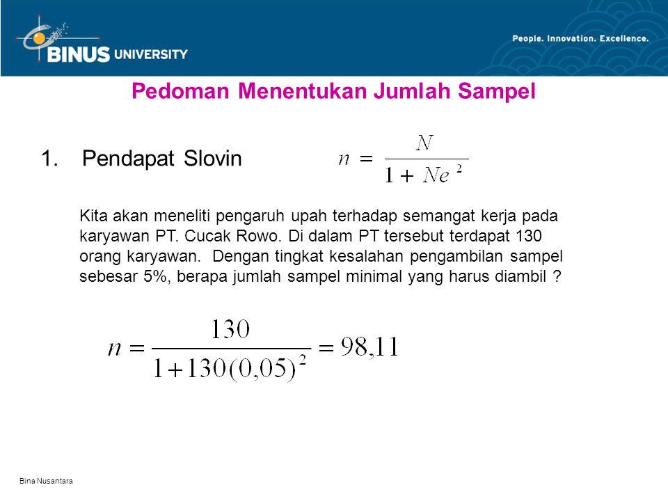 Bina Nusantara Pedoman Menentukan Jumlah Sampel  Pendapat Slovin Kita akan meneliti pengaruh upah terhadap semangat kerja pada karyawan PT. Cucak Ro