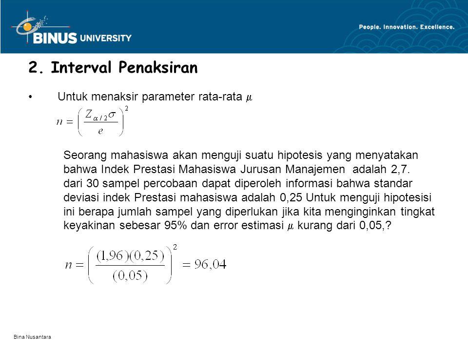 Bina Nusantara 2. Interval Penaksiran Untuk menaksir parameter rata-rata  Seorang mahasiswa akan menguji suatu hipotesis yang menyatakan bahwa Indek