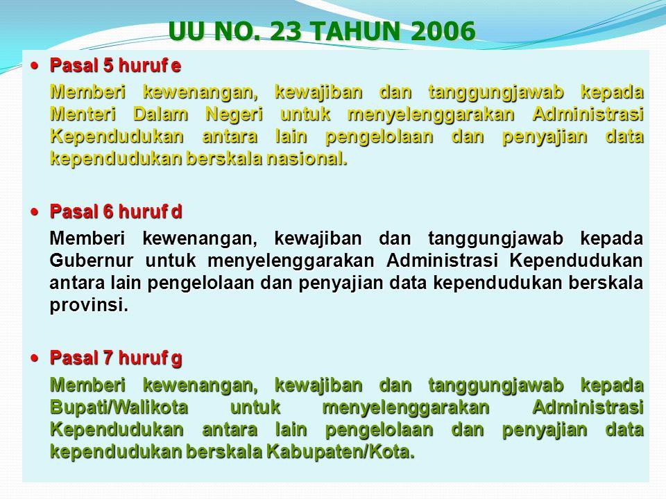 Pasal 82 Pasal 82 Memerintahkan kepada Menteri Dalam Negeri untuk melakukan pengelolaan informasi administrasi kependudukan melalui pembangunan SIAK.