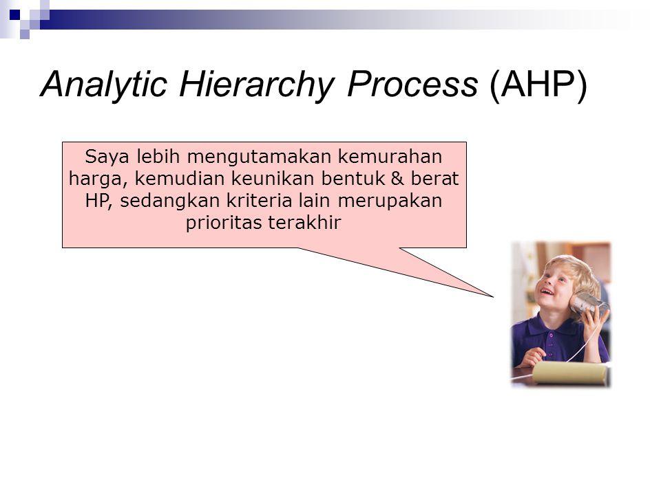 Saya lebih mengutamakan kemurahan harga, kemudian keunikan bentuk & berat HP, sedangkan kriteria lain merupakan prioritas terakhir Analytic Hierarchy