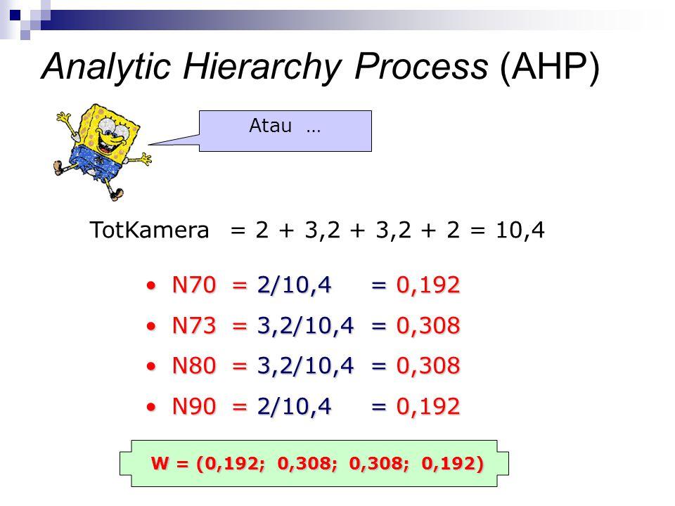 TotKamera = 2 + 3,2 + 3,2 + 2 = 10,4 N70 = 2/10,4 = 0,192N70 = 2/10,4 = 0,192 N73 = 3,2/10,4 = 0,308N73 = 3,2/10,4 = 0,308 N80 = 3,2/10,4 = 0,308N80 =