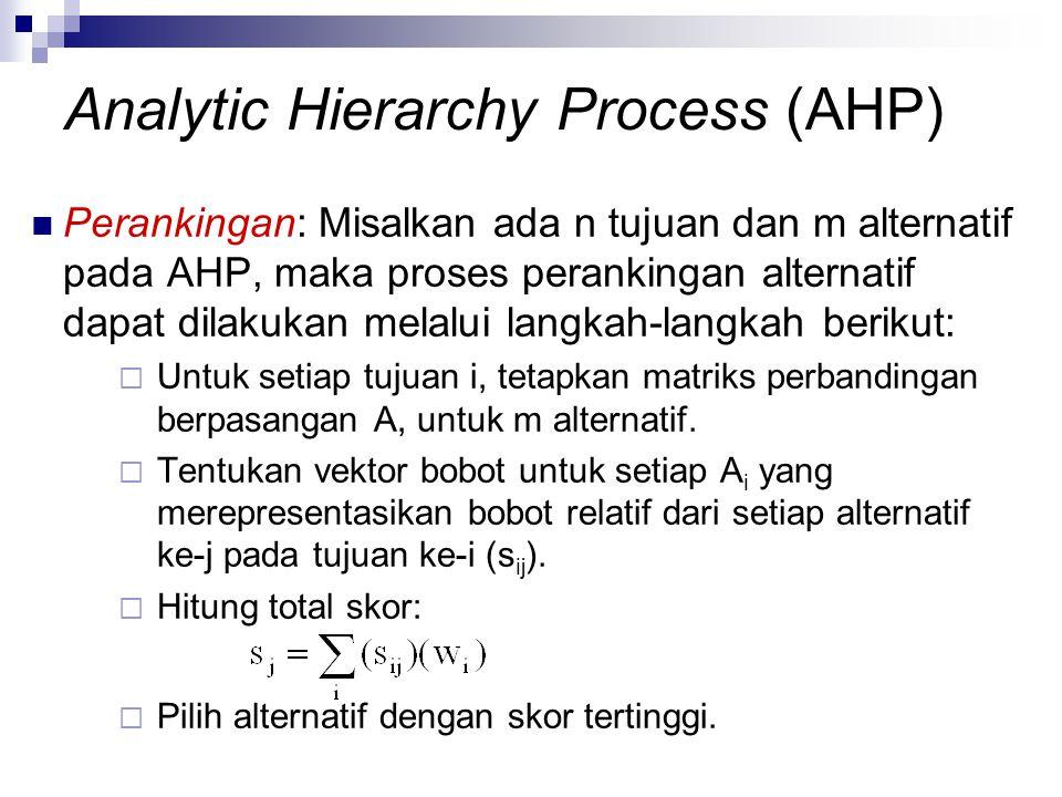 Perankingan: Misalkan ada n tujuan dan m alternatif pada AHP, maka proses perankingan alternatif dapat dilakukan melalui langkah-langkah berikut:  Un
