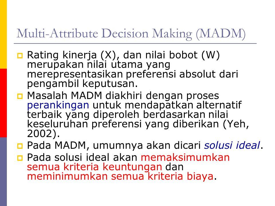Multi-Attribute Decision Making (MADM)  Rating kinerja (X), dan nilai bobot (W) merupakan nilai utama yang merepresentasikan preferensi absolut dari
