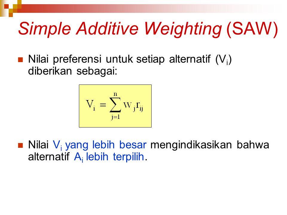 Simple Additive Weighting (SAW) Nilai preferensi untuk setiap alternatif (V i ) diberikan sebagai: Nilai V i yang lebih besar mengindikasikan bahwa al