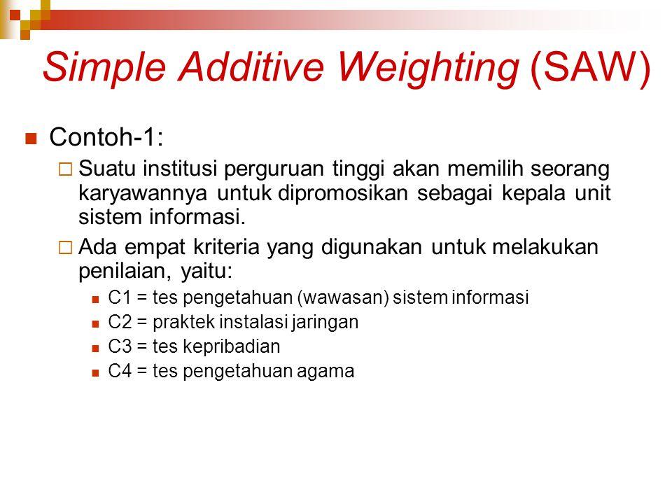 Simple Additive Weighting (SAW) Contoh-1:  Suatu institusi perguruan tinggi akan memilih seorang karyawannya untuk dipromosikan sebagai kepala unit s