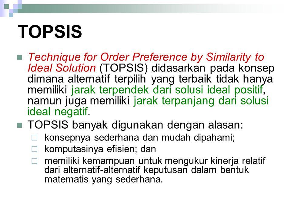TOPSIS Technique for Order Preference by Similarity to Ideal Solution (TOPSIS) didasarkan pada konsep dimana alternatif terpilih yang terbaik tidak ha