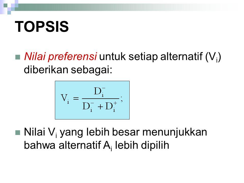 Nilai preferensi untuk setiap alternatif (V i ) diberikan sebagai: Nilai V i yang lebih besar menunjukkan bahwa alternatif A i lebih dipilih TOPSIS