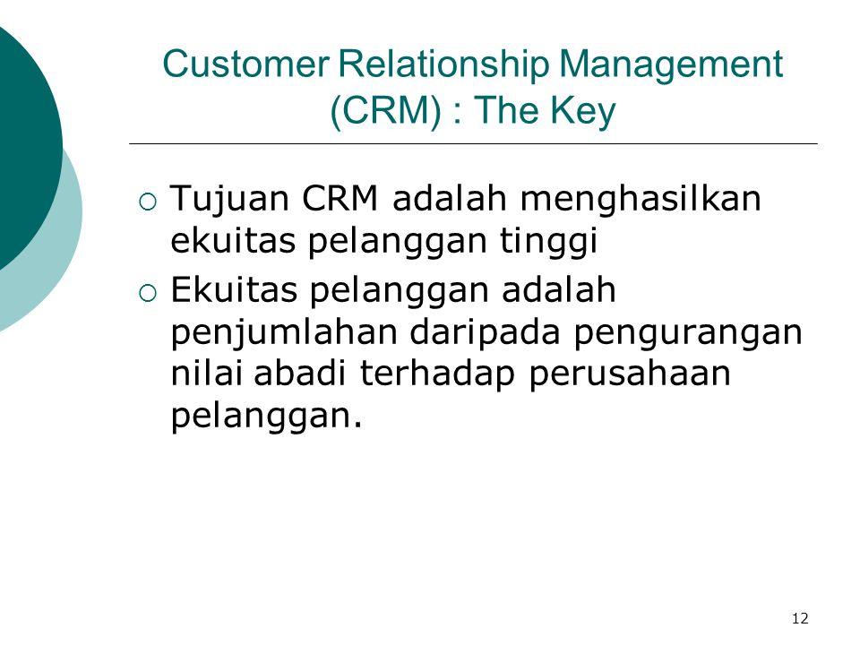 12 Customer Relationship Management (CRM) : The Key  Tujuan CRM adalah menghasilkan ekuitas pelanggan tinggi  Ekuitas pelanggan adalah penjumlahan d