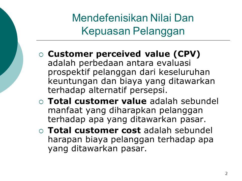 2 Mendefenisikan Nilai Dan Kepuasan Pelanggan  Customer perceived value (CPV) adalah perbedaan antara evaluasi prospektif pelanggan dari keseluruhan
