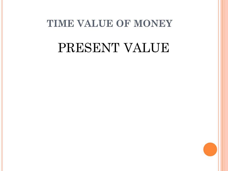 NILAI SEKARANG (PRESENT VALUE) Present value (nilai sekarang) merupakan kebalikan dari compound value/nilai majemuk yang memiliki arti yang mencakup besarnya jumlah uang, pada permulaan periode atas dasar tingkat bunga tertentu dari sejumlah uang yang baru akan diterima beberapa waktu/periode yang akan datang.