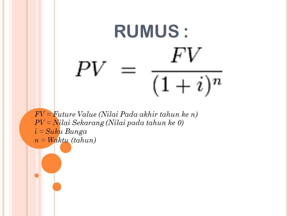 RUMUS : FV = Future Value (Nilai Pada akhir tahun ke n) PV = Nilai Sekarang (Nilai pada tahun ke 0) i = Suku Bunga n = Waktu (tahun)