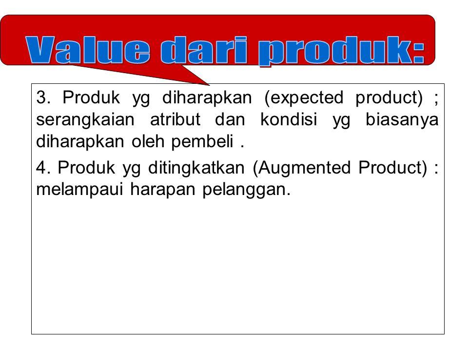 3. Produk yg diharapkan (expected product) ; serangkaian atribut dan kondisi yg biasanya diharapkan oleh pembeli. 4. Produk yg ditingkatkan (Augmented