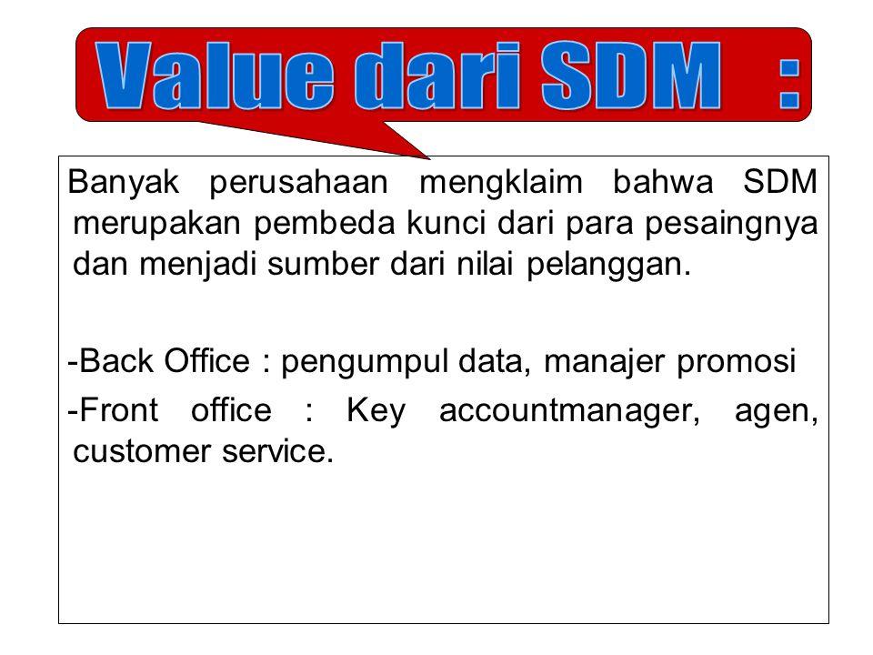 Banyak perusahaan mengklaim bahwa SDM merupakan pembeda kunci dari para pesaingnya dan menjadi sumber dari nilai pelanggan. -Back Office : pengumpul d