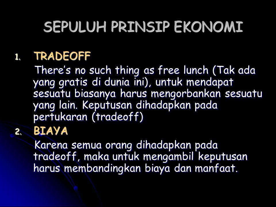 SEPULUH PRINSIP EKONOMI 1. T RADEOFF There's no such thing as free lunch (Tak ada yang gratis di dunia ini), untuk mendapat sesuatu biasanya harus men