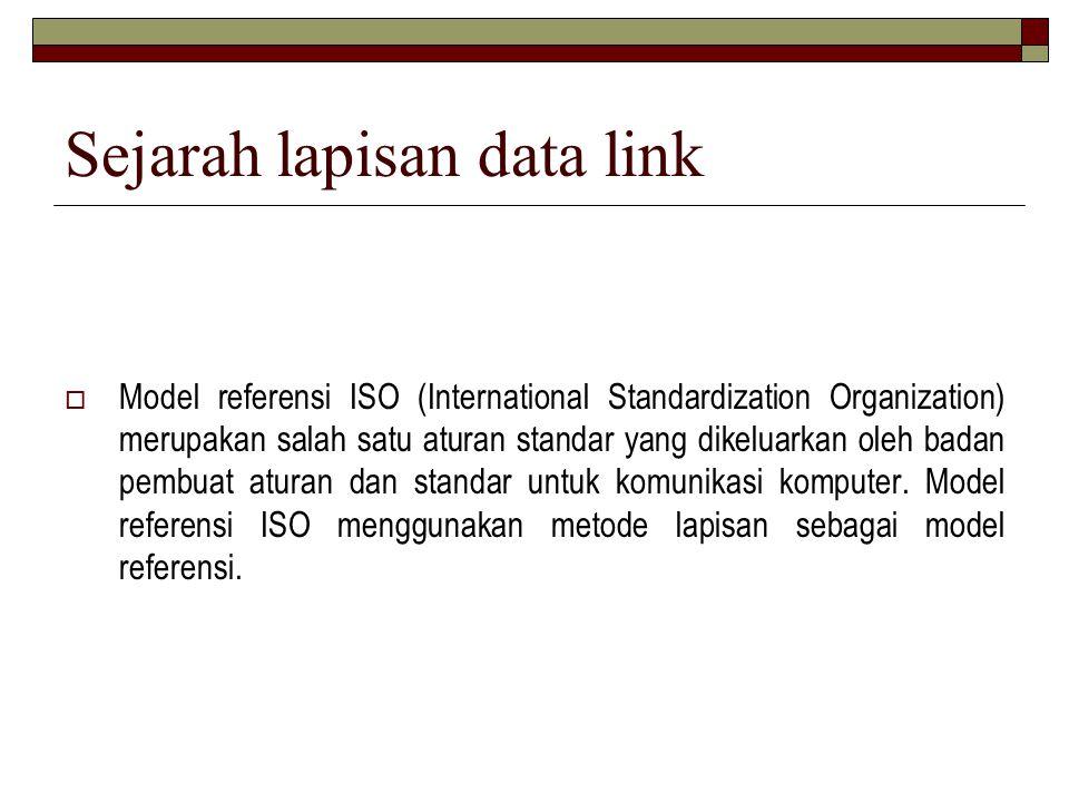 Sejarah lapisan data link  Model referensi ISO (International Standardization Organization) merupakan salah satu aturan standar yang dikeluarkan oleh