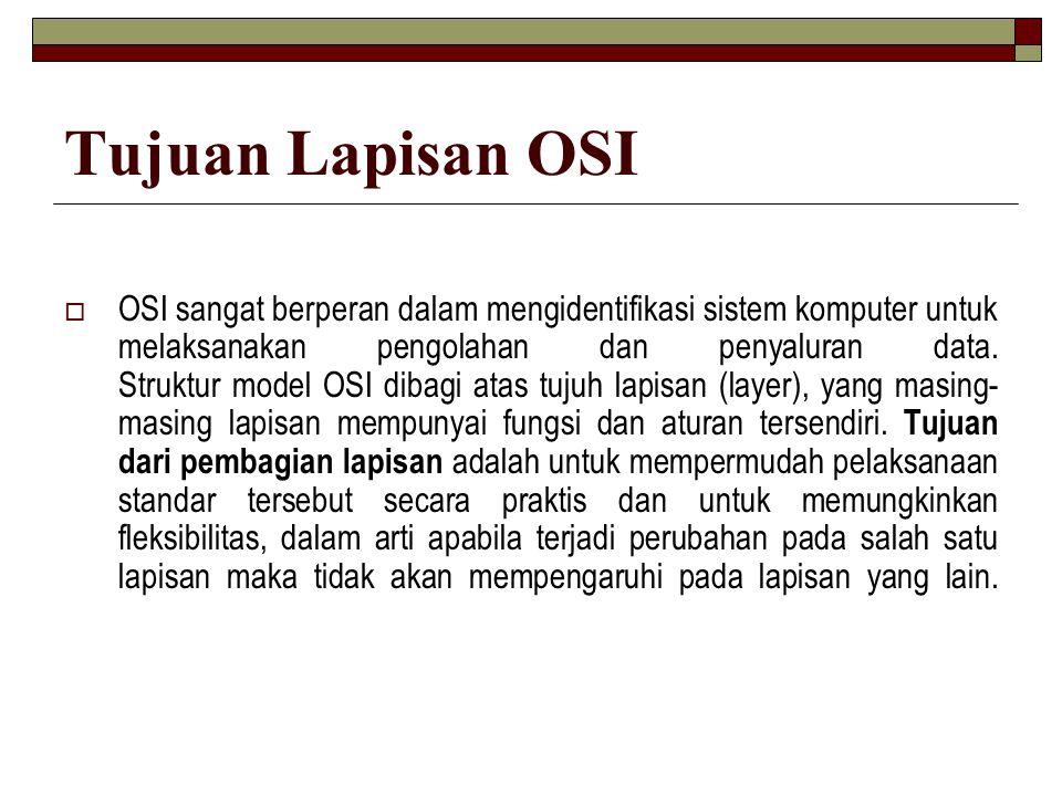 Tujuan Lapisan OSI  OSI sangat berperan dalam mengidentifikasi sistem komputer untuk melaksanakan pengolahan dan penyaluran data. Struktur model OSI