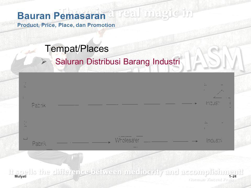 Mulyati1–24 Bauran Pemasaran Product, Price, Place, dan Promotion Tempat/Places  Saluran Distribusi Barang Industri
