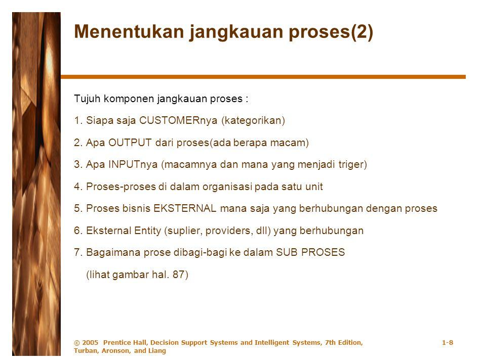 © 2005 Prentice Hall, Decision Support Systems and Intelligent Systems, 7th Edition, Turban, Aronson, and Liang 1-8 Menentukan jangkauan proses(2) Tujuh komponen jangkauan proses : 1.Siapa saja CUSTOMERnya (kategorikan) 2.Apa OUTPUT dari proses(ada berapa macam) 3.Apa INPUTnya (macamnya dan mana yang menjadi triger) 4.Proses-proses di dalam organisasi pada satu unit 5.Proses bisnis EKSTERNAL mana saja yang berhubungan dengan proses 6.Eksternal Entity (suplier, providers, dll) yang berhubungan 7.Bagaimana prose dibagi-bagi ke dalam SUB PROSES (lihat gambar hal.