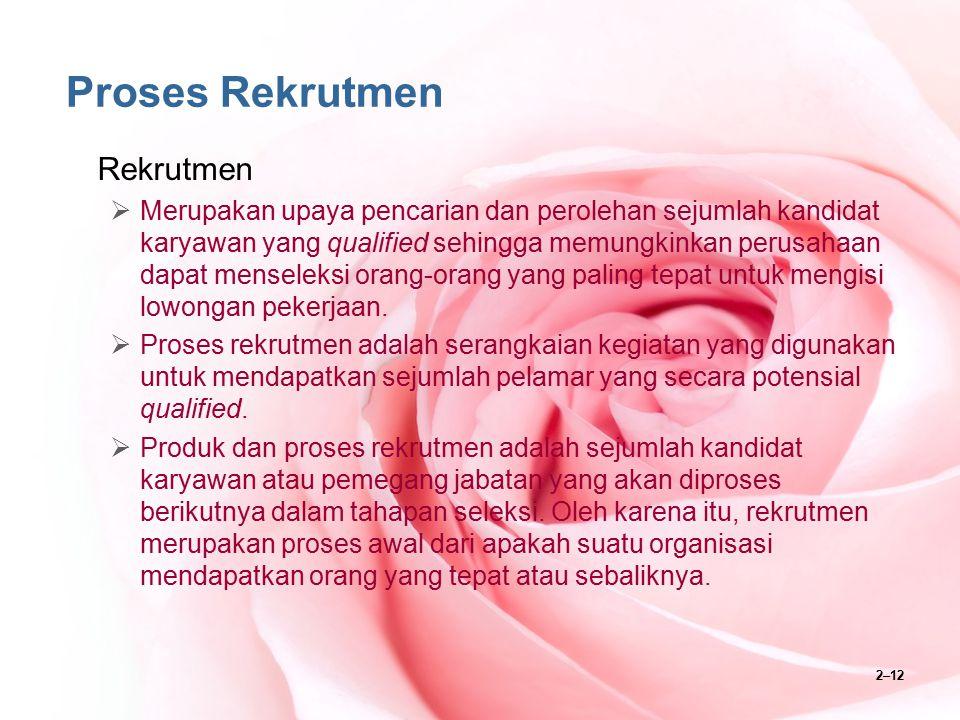 2–12 Proses Rekrutmen Rekrutmen  Merupakan upaya pencarian dan perolehan sejumlah kandidat karyawan yang qualified sehingga memungkinkan perusahaan d