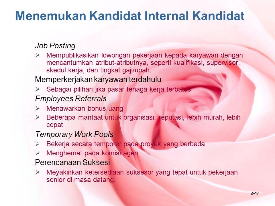 2–17 Menemukan Kandidat Internal Kandidat Job Posting  Mempublikasikan lowongan pekerjaan kepada karyawan dengan mencantumkan atribut-atributnya, sep