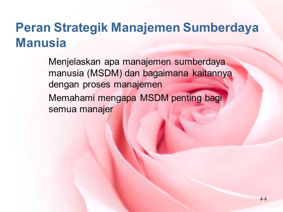 2–3 Proses Manajemen SDM Proses manajemen SDM berusaha mengisi staf organisasi dan mempertahankan kinerja karyawan yang tinggi melalui perencanaan SDM, perekrutan dan pengurangan, seleksi, orientasi, pelatihan, manajemen kinerja, kompensasi dan tunjangan, serta pengembangan karir