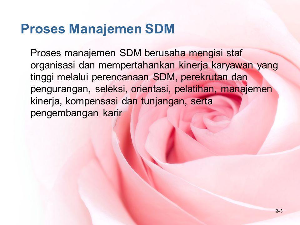 2–3 Proses Manajemen SDM Proses manajemen SDM berusaha mengisi staf organisasi dan mempertahankan kinerja karyawan yang tinggi melalui perencanaan SDM