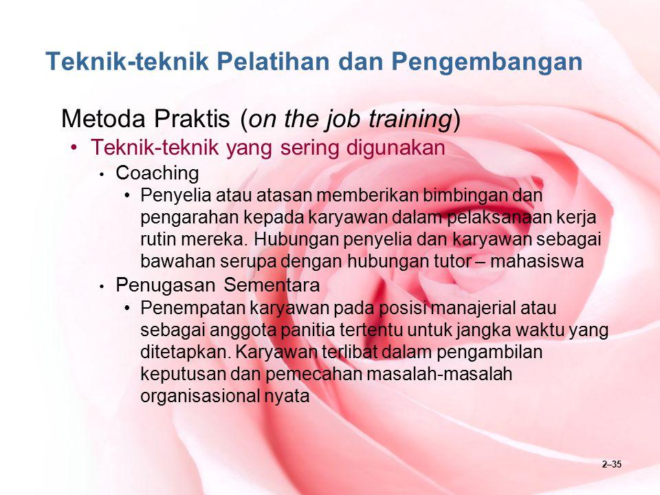 2–35 Teknik-teknik Pelatihan dan Pengembangan Metoda Praktis (on the job training) Teknik-teknik yang sering digunakan Coaching Penyelia atau atasan m