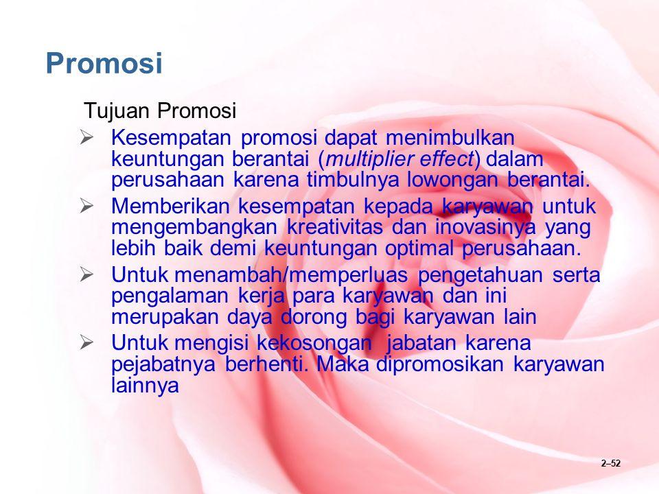 2–52 Promosi Tujuan Promosi  Kesempatan promosi dapat menimbulkan keuntungan berantai (multiplier effect) dalam perusahaan karena timbulnya lowongan