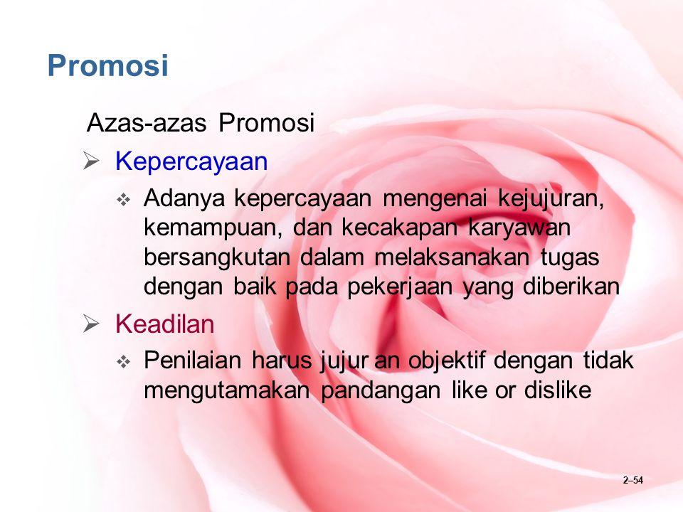 2–55 Promosi Azas-azas Promosi  Formasi  Promosi harus berasakan kepada formasi yang ada, karena promosi karyawan hanya mungkin dilakukan jika ada formasi jabatan yang lowong