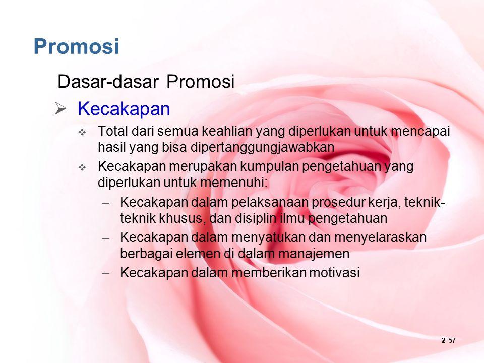 2–57 Promosi Dasar-dasar Promosi  Kecakapan  Total dari semua keahlian yang diperlukan untuk mencapai hasil yang bisa dipertanggungjawabkan  Kecaka