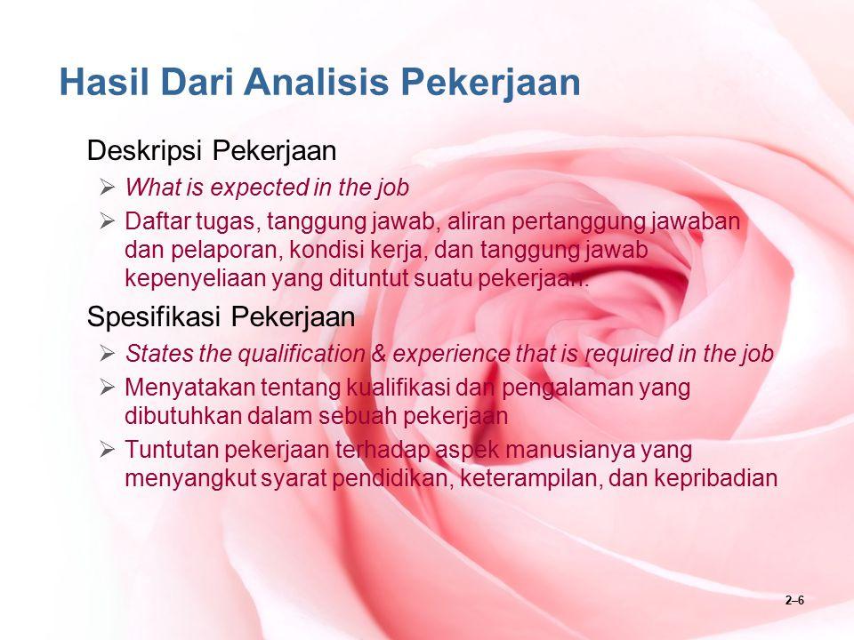 2–6 Hasil Dari Analisis Pekerjaan Deskripsi Pekerjaan  What is expected in the job  Daftar tugas, tanggung jawab, aliran pertanggung jawaban dan pel