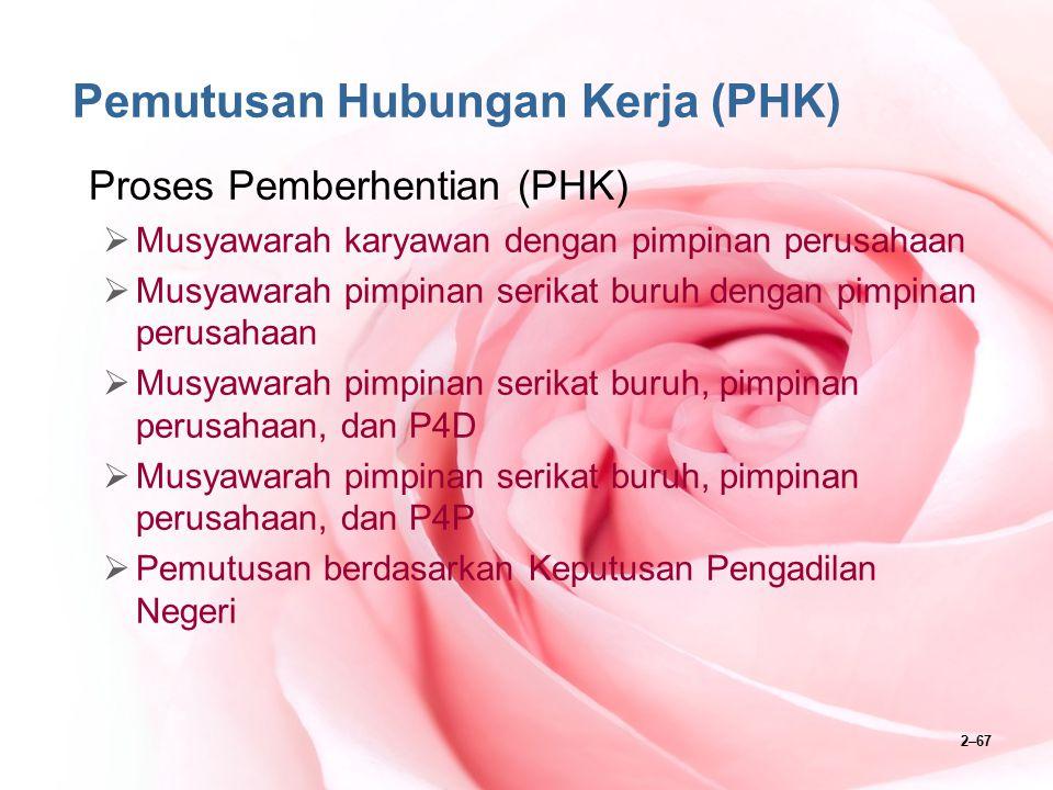 2–67 Pemutusan Hubungan Kerja (PHK) Proses Pemberhentian (PHK)  Musyawarah karyawan dengan pimpinan perusahaan  Musyawarah pimpinan serikat buruh de