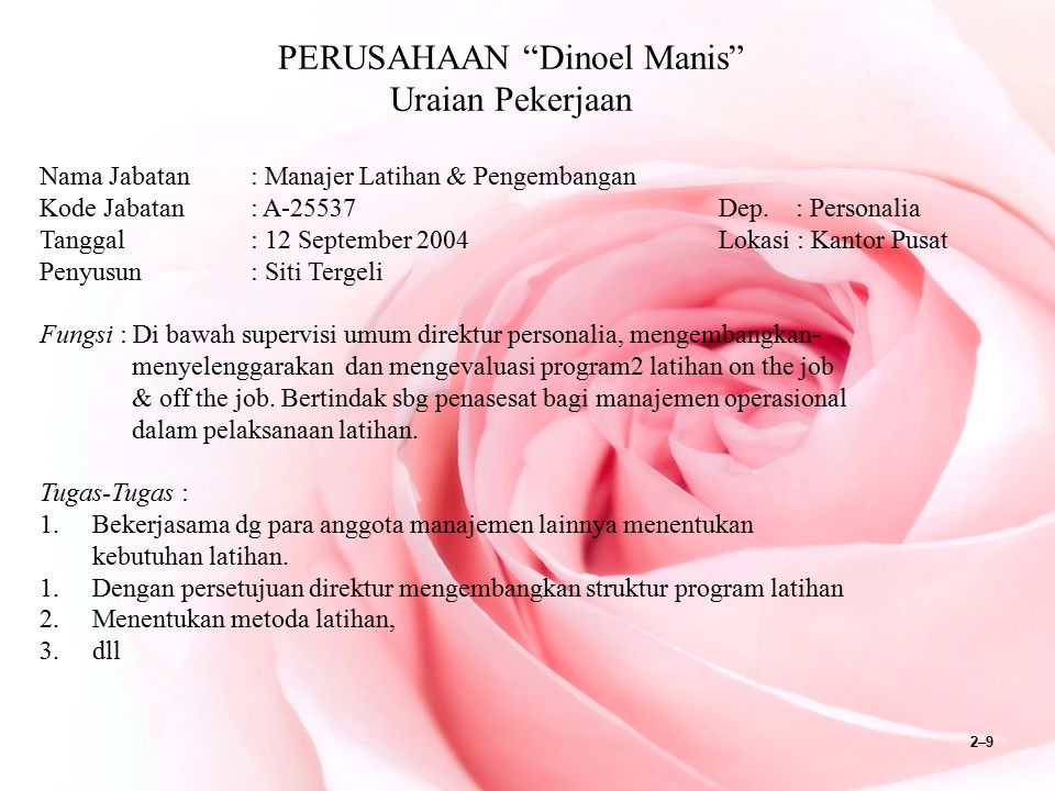 """2–9 PERUSAHAAN """"Dinoel Manis"""" Uraian Pekerjaan Nama Jabatan: Manajer Latihan & Pengembangan Kode Jabatan: A-25537 Dep. : Personalia Tanggal: 12 Septem"""