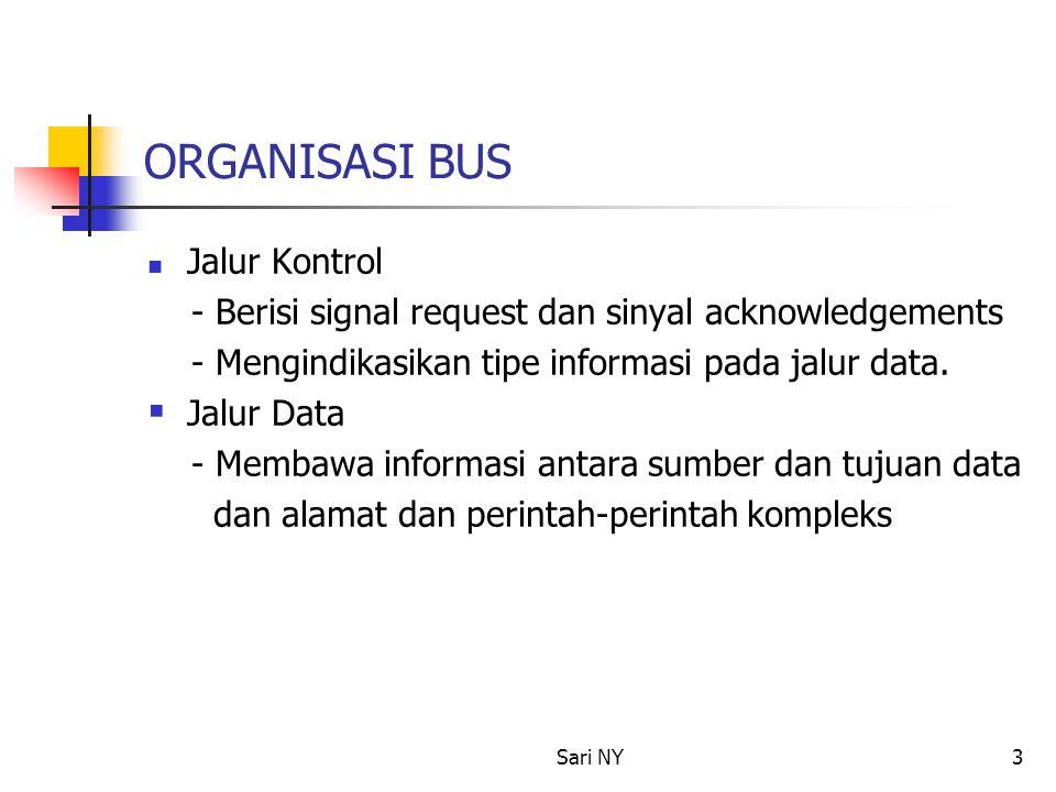 Sari NY3 ORGANISASI BUS Jalur Kontrol - Berisi signal request dan sinyal acknowledgements - Mengindikasikan tipe informasi pada jalur data.  Jalur Da