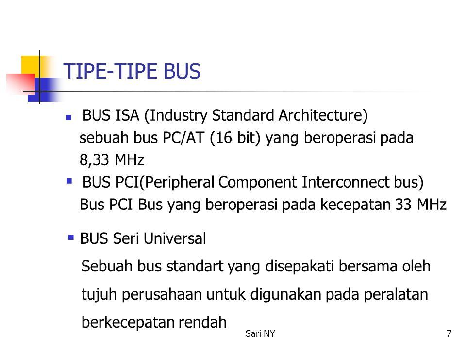 Sari NY7 TIPE-TIPE BUS BUS ISA (Industry Standard Architecture) sebuah bus PC/AT (16 bit) yang beroperasi pada 8,33 MHz  BUS PCI(Peripheral Component