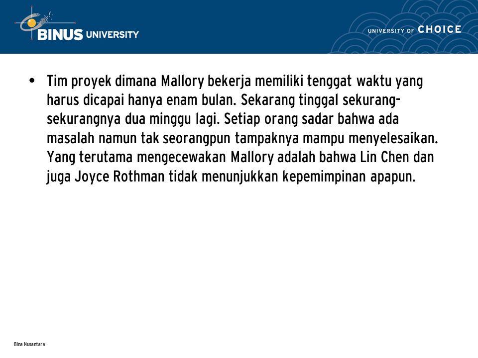 Bina Nusantara Tim proyek dimana Mallory bekerja memiliki tenggat waktu yang harus dicapai hanya enam bulan.