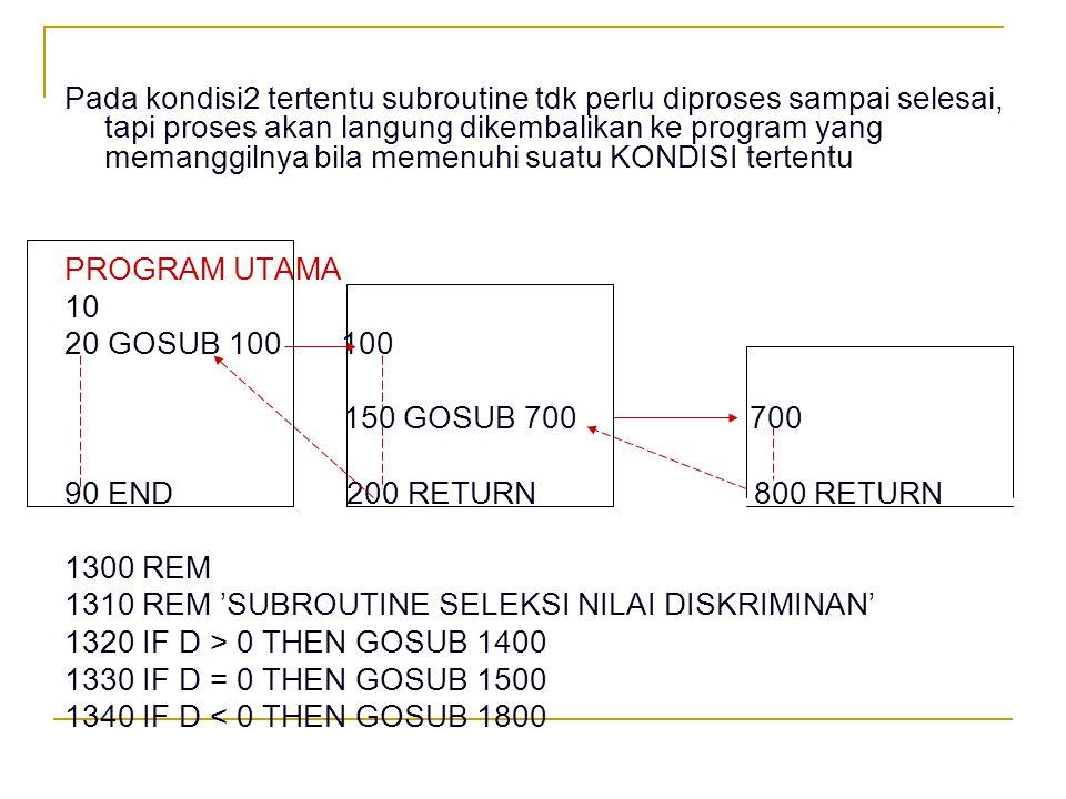 STATEMEN RETURN n no baris Dapat digunakan untuk mengembalikan proses ke bagian yang lain bukan mengembalikan proses ke statemen pemanggil subroutinnya e.g.