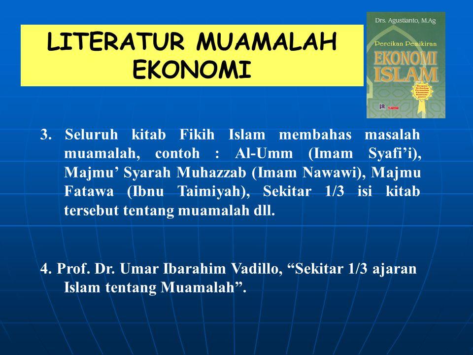 """LITERATUR MUAMALAH EKONOMI 1.Prof. Dr. Muhammad N. Ash-Shiddiqy, dalam buku """"Muslim Economic Thinking"""" meneliti 700 judul buku yang membahas ekonomi I"""