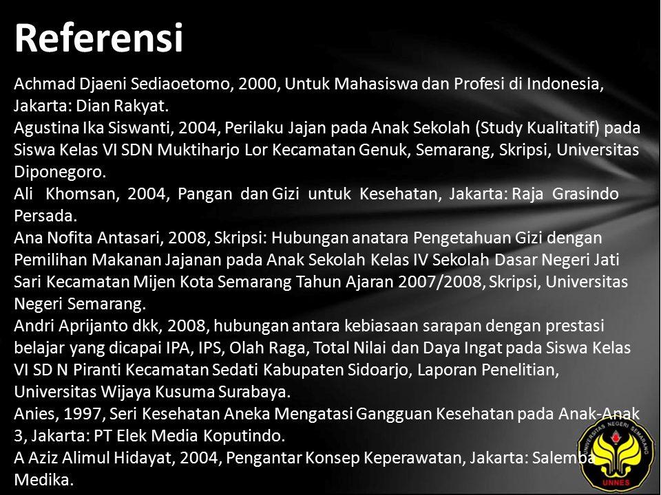 Referensi Achmad Djaeni Sediaoetomo, 2000, Untuk Mahasiswa dan Profesi di Indonesia, Jakarta: Dian Rakyat.